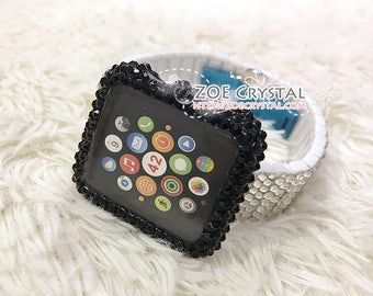 BUY 2 Get 1 FREE Bling Apple Watch Black Swarovski Crystal Case / Protector / Cover with a Silver White Rhinestone iWatch Band / Strap
