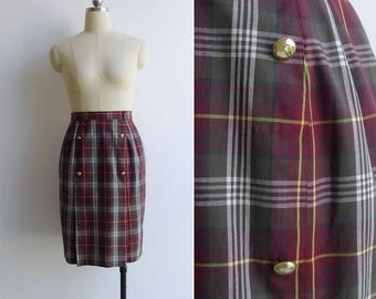 Vintage 80's Tartan Plaid Military Pencil Skirt With Gold Buttons XS or S
