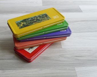 10-25% OFF Code In Shop - Vintage 80's Asian Kitschy Retro Metal Pencil Box Case (New Old Stock)