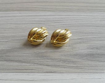 10-25% OFF Code In Shop - Vintage 80's Gold Tone Abstract Pretzel Twist Clip On Earrings