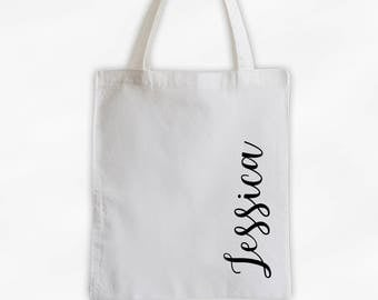 Personalized Cotton Canvas Tote Bag with First Name in Script Along the Side - Custom Gift Reusable Shopping Bag  (3035)
