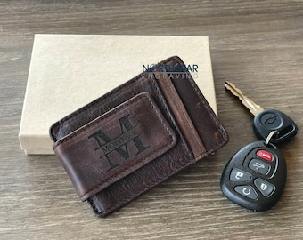 Personalized Mens Money clip, Personalized gift, Genuine Leather Money clip, Gifts for Him, Custom wallet, Mens Personalized Christmas gifts