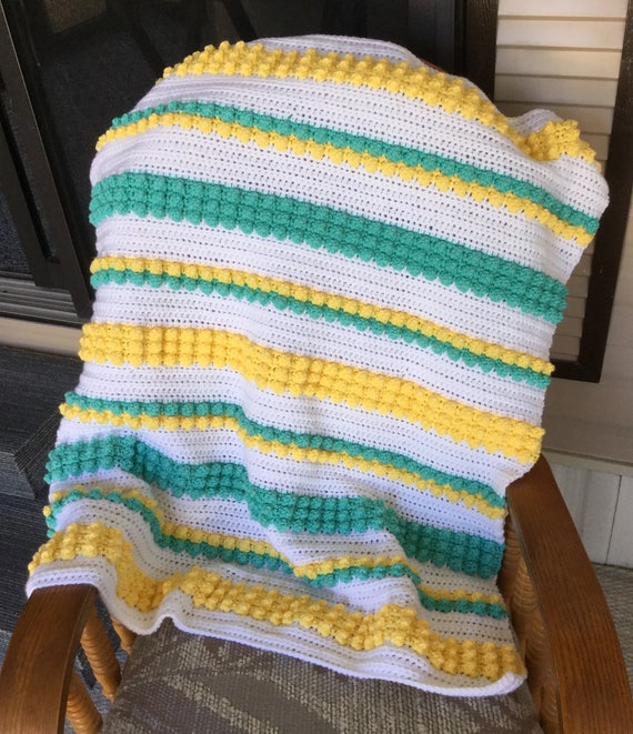 Bobbles and Stripes Baby Blanket Pattern - Baby Blanket Pattern - Blanket Pattern