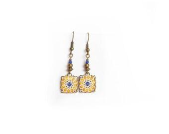Yellow/blue, geometric Earrings: tiles with Mediterranean motifs - Arabic.