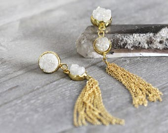 White Druzy Tassel Earrings - Gold Chain Tassel Earrings - Long Statement Earrings - Druzy Earrings Dangle - Druzy Earrings White