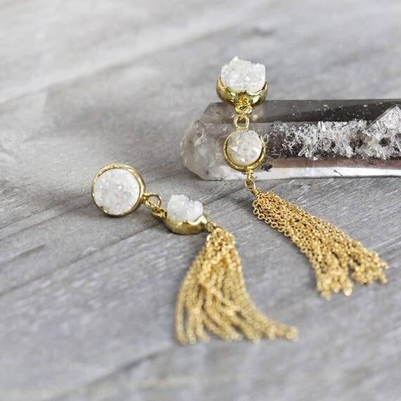 White Druzy Tassel Earrings -Long Statement Earrings
