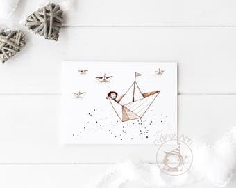 Where is Home? - Nursery Decor wall art - cute baby boyaprint decor - sea and stars cute baby boy sailing in paperboat