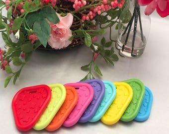 Triangle Silicone Teether // 2.25 inch // Sew In Teether // Silicone Teether // Teething Toy // Toy Making Parts // Baby Teething / Handmade