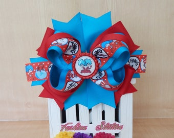 Thing1 and Thing2 Over The Top Cute bow for babies, toddlers and big girls ~ Bow measures approximately 6.5 inches