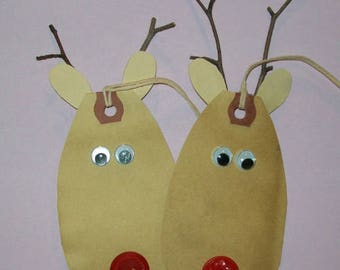 6 Reindeer Gift Tags Christmas Cards Rudolph the Red Nose Reindeer Party Favors FREE SHIPPING
