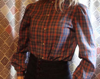 stuffed shirt PLAID BUTTONUP BLOUSE high neck 70's 80's S
