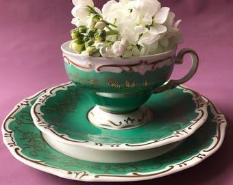 Vintage German Weimar Fine bone Porcelain China 3 Piece tea cup saucer gold green floral flowers