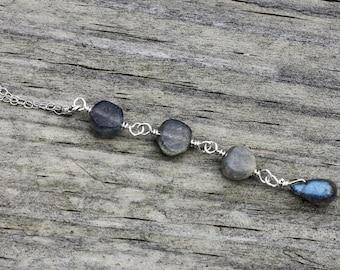 Sterling Silver Labradorite Necklace, Labradorite Jewelry, Sterling Silver Jewelry, Gemstone Jewelry, Labradorite Pendant