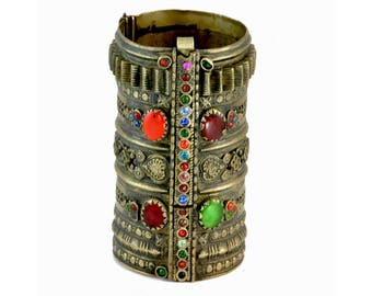 Vintage Afghan Kuchi Tribal Jewelry - Brass, Glass Stone, Rhinestone, Cuff Bracelet