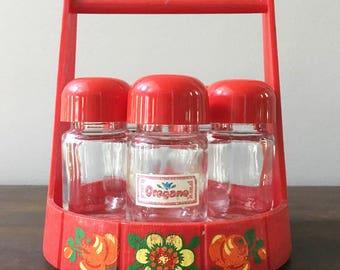 Vintage Red Spice Bottles and Rack Set marked Emsa W. Germany / Retro Red Kitchen Decor