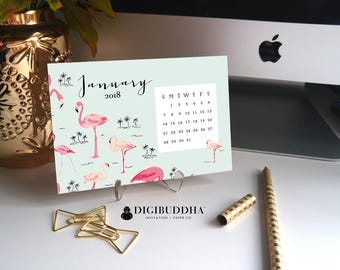 PINK FLAMINGOS PLANNER Flamingos Calendar 2018 Calendars 2018 Desk Calendar 2018 Office Planner Office Calendar Flamingos Gift Idea - Abby