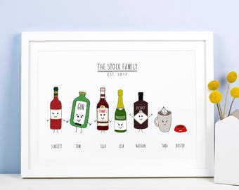 Personalised Family Print, Family Gift, Family Portrait, Family Illustration, Drinks Illustrations, Personalised Family Portrait, Family