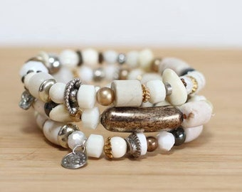 Boho Wedding, Boho White Bracelet, Boho Bracelet, White Bracelet, Shabby Chic Bracelet, Stacked Bracelet Set, Wedding Bracelet set
