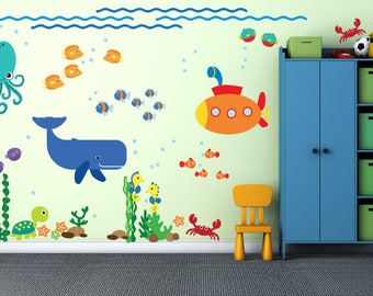 Under the Sea Fish Decal, Reusable Fabric Decal, Submarine Whale Wall Decals, Ecofriendly No Toxins No PVCs Decals, A238