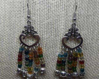 Beaded Heart Chandelier Earrings
