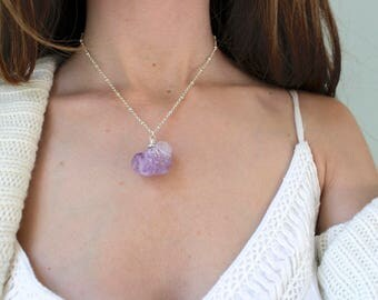 Raw Amethyst Pendant Necklace // February Birthstone Necklace // Rough Crystal Necklace // Rough Amethyst Necklace // Raw Amethyst Pedant