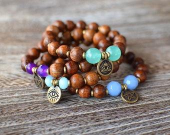 Pentagram Wood Bracelet  | Evil Eye Bracelet