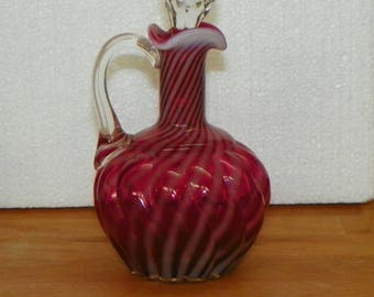 Victorian EAPG Hobbs Brockunier CRUET Reverse SWIRL Ruby Cranberry Glass opalescent opal antique