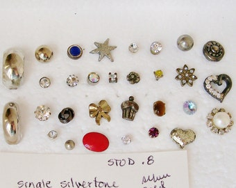 "30 Singles  STUD EARRING LOT Silver Tone Enamel Tiger Eye Rhinestone Pearl 1/8""- 3/4""   Pierced Wearable Destash .8"