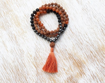 Mens Mala Necklace, Lava Stone Hematite Aventurine Gemstone Mala Bead Necklace, Buddhist Jewelrsy, Mala Beads 108, Rudraksha Mala, Mala Bead
