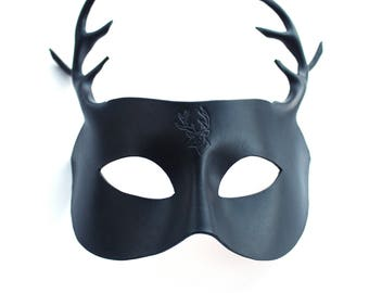 Brown or Black Leather Stag Mask Antlers, Handmade UK
