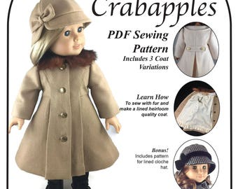 Classic Coat PDF Pattern for 18 inch doll Instant Download