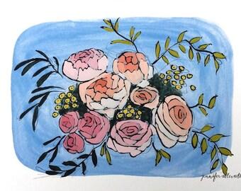 Floral bouquet illustration art print -  Ice Blue