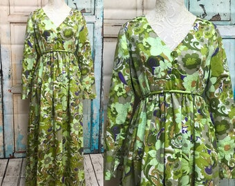 70s Green Floral Sateen Satin Psychedelic Maxi Dress