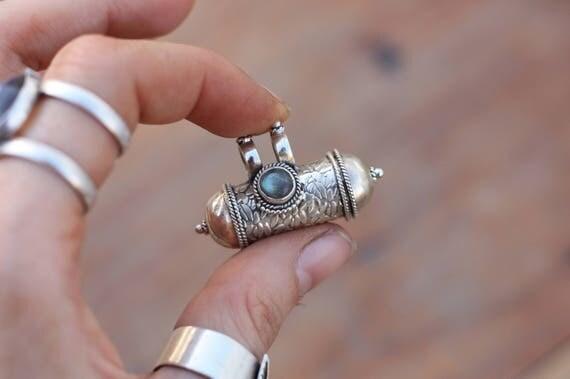LABRADORITE MANTRA NECKLACE - Sterling Silver - Mantra Box - Crystal Necklace - Gemstone - Silver Jewellery - Keepsake - Photo - Valentines