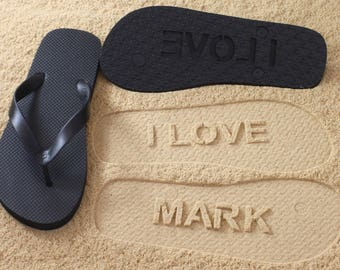 I LOVE NAME - Personalized Custom Sand Imprint Flip Flops *check size chart before ordering*