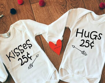 Twin Valentines Outfit, Valentines Kids Gifts, Twin Bodysuits Set, Kisses 25 Cents,Hugs 25 Cents,Baby Valentines Outfit, Cute Baby Clothes,