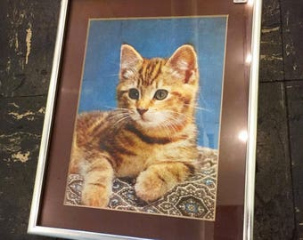 Vintage 1970s tabby cat lithograph wall decor