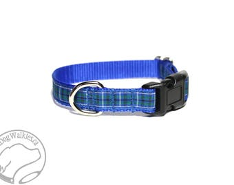 "NEW width - Ancient Douglas Clan Tartan Small Dog Collar - Thin Dog Collar - 1/2"" (12mm) Wide - Blue Plaid - Choice of style and size"