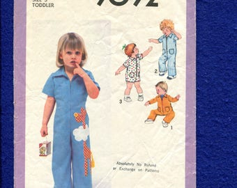Vintage 1970's Simplicity 9092 Retro Jumpsuits for Little Kids with Zipper Fronts Size 3