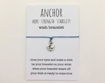 wish bracelet or anklet , anchor bracelet , friendship bracelet , beach bracelet , beachcomber nautical bracelet