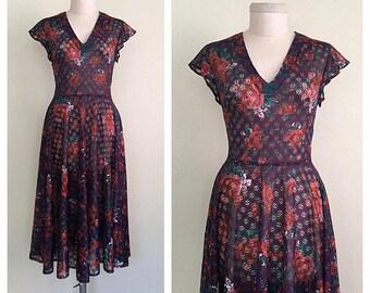 Scarlet Roses dress | 1970s floral lace dress | vintage 70s boho dress | m