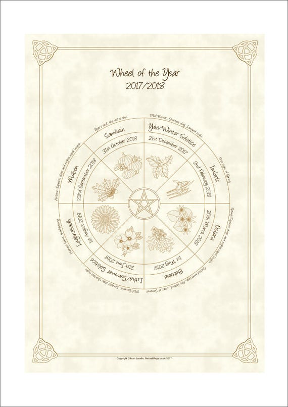 Wheel Of The Year Pagan Wiccan Sabbat Calendar 2018