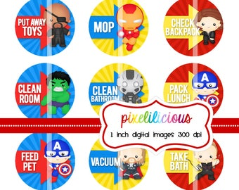 Digital Bottle Cap Image Sheet - SUPERHERO 2 -  Chore Chart with 30 Chores -  1 Inch Digital Collage  - Instant Download