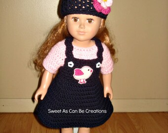 18 inch Doll Crochet Lovebird Jumper set in Navy and Pinks