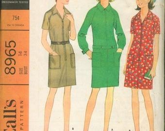 60s Simple Dress Pattern McCalls 8965 Size 18 Uncut