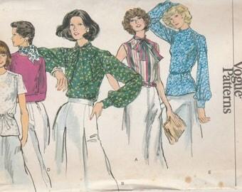 Vintage Blouse Pattern Vogue 9200 Size 10 Uncut