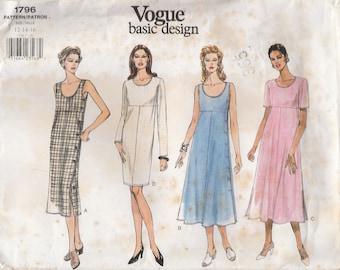 Simple 90s Dress Pattern Vogue 1796 Sizes 12 14 16 Uncut