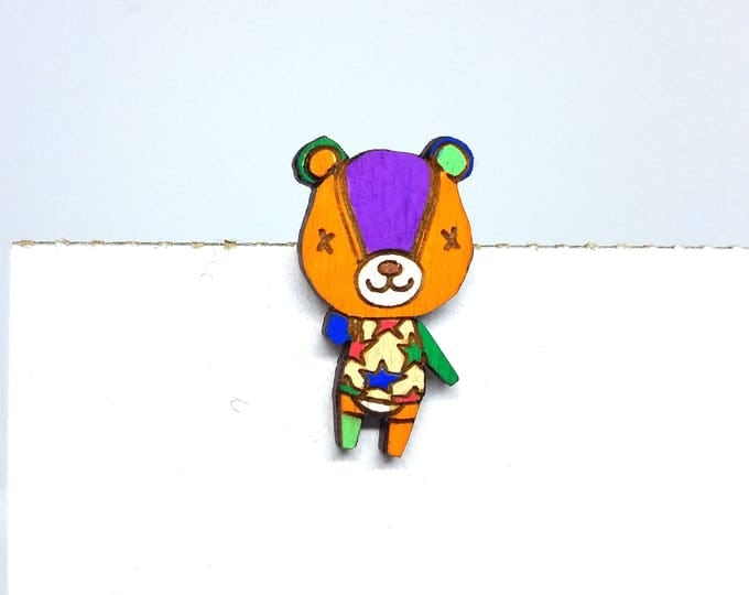 Hand Painted Stitches Animal Crossing Pin | Laser Cut Jewelry | Wood Accessories | Wood Pin