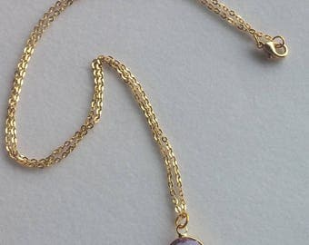 Purple Gold Necklace. Everyday Necklace. Wedding Jewelry. Simple. Modern.