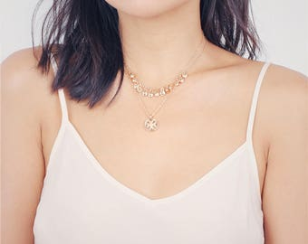 Dainty gold halo choker necklace - Tiny coin necklace - Delicate chain choker necklace